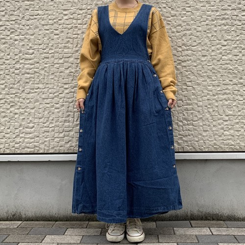 (LOOK) denim apron one-piece
