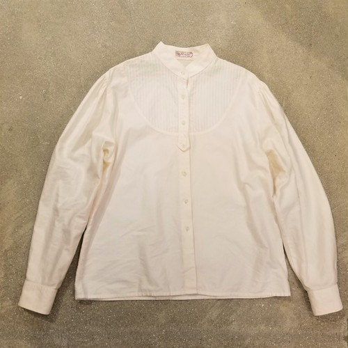 Stand collar tuck blouse / Made In France [K-658]