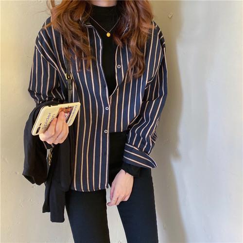 デイリーストライプシャツ シャツ ブラウス ストライプシャツ 韓国ファッション
