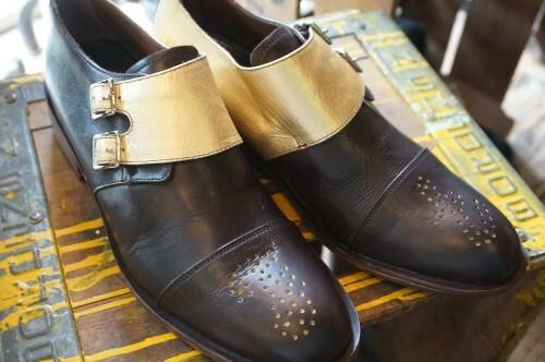 """FLORSHEIM × ESQUIVEL double monk Shoes """"brown & gold"""""""