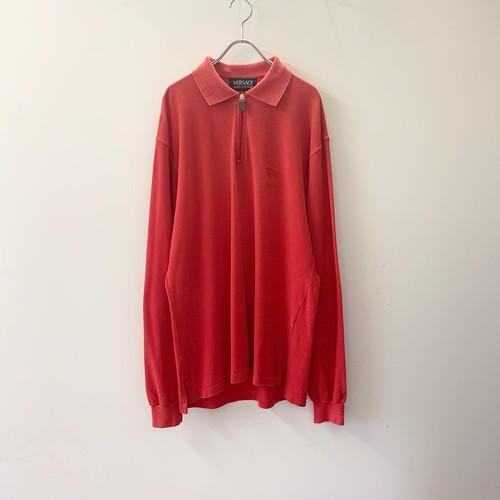 VERSACE JEANS ハーフジップポロシャツ レッド size XL イタリア製 メンズ 古着
