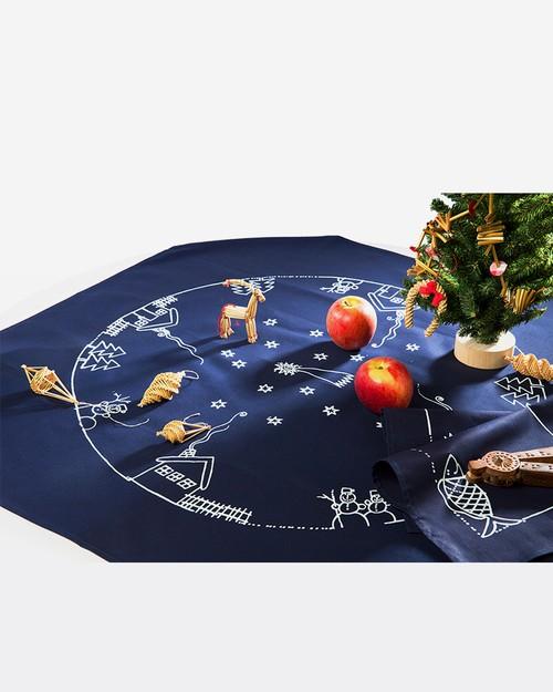 テーブルクロス(80x80) 「クリスマス 雪の夜」