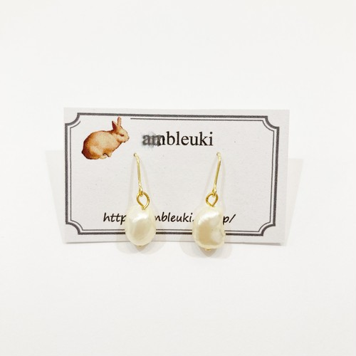 【ambleuki】淡水パールピアス/パーツ交換可能