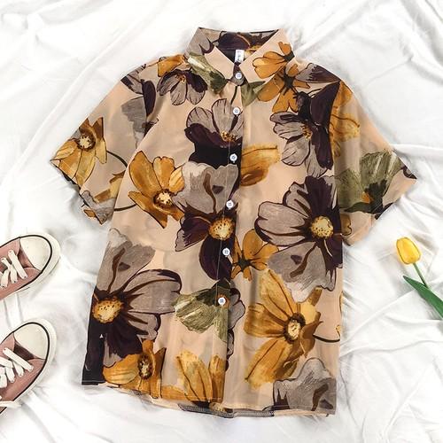 レトロ オシャレ カジュアル POLOネック 半袖 花柄 可愛い ゆったり 大きめ トレンド シャツ・トップス