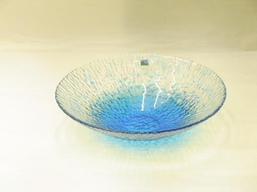 津軽びいどろ 水盤(花器) さざなみ ブルー