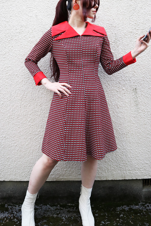 Red collar dot onepiece