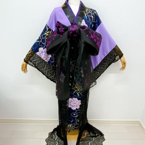 レース切り替え虹牡丹のロング着物(紫)