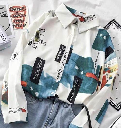 レトロ 折り襟 長袖 今季大流行 カラーブロック ボタン  シャツ・ブラウス トップス