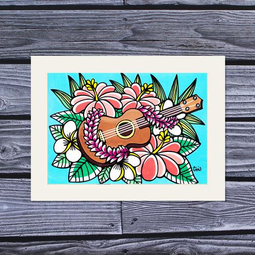 アートプリント A4(Ukulele Hibiscus)