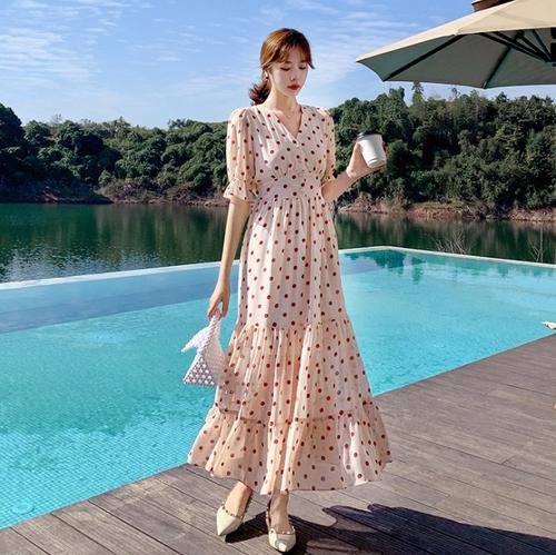 【dress】話題沸騰中!Vネックドット柄優しい雰囲気気質アップデートワンピース