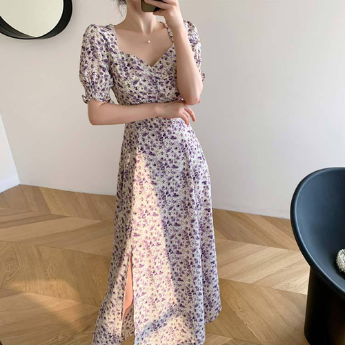 【dress】美人度アップスウィート花柄ワンピースチュニック着瘦せスリット