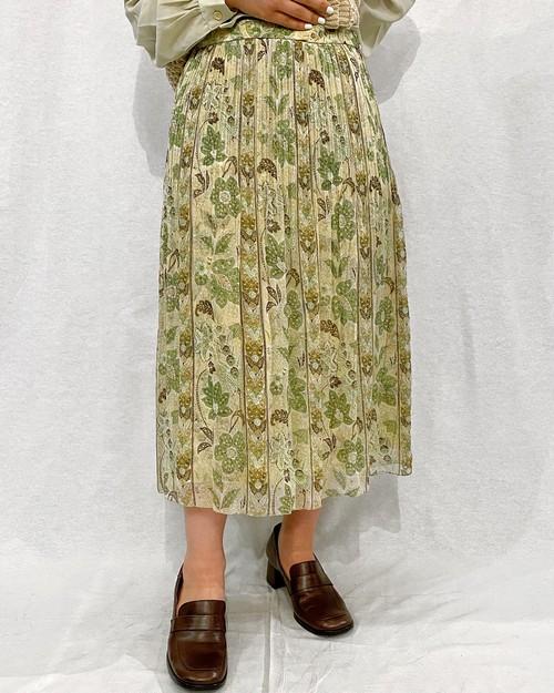 (PAL) flower pattern pleats skirt