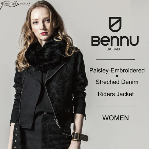 【BENNU】Paisley-Embroidered×Streched Denim Riders Jacket/ブラック