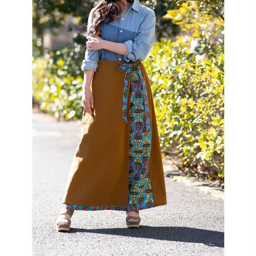 リバーシブル巻きスカート キャメル トーキングドラム (日本縫製) 異素材 2way アフリカンプリント アフリカンファブリック フリカンバティック アフリカ布 ガーナ布