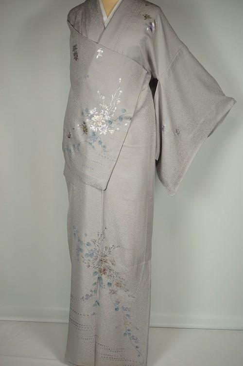 作家物【単衣】銀泥 唐花 ラメ 正絹 紫水晶色 紫  283