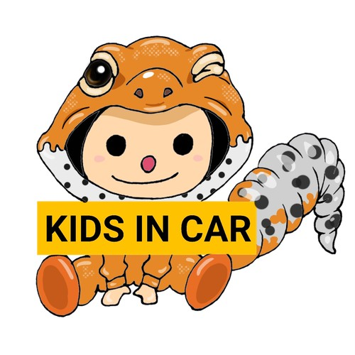 [KIDS IN CAR]タンジェリンレオパステッカー2枚