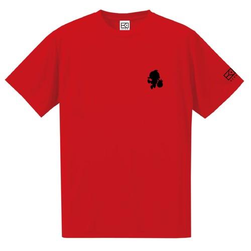 ワンポイントキャラクターTシャツ(レッド×ブラック)