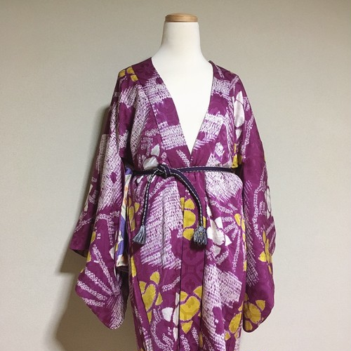 Vintage HAORI SHIBORI Silk purple × White