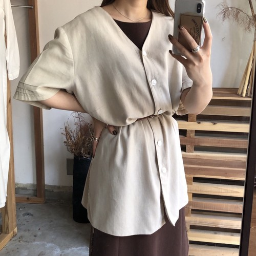 linen no collar shirt