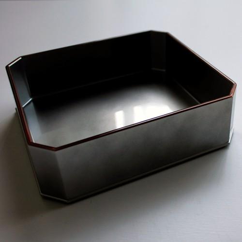 銀透き 7寸長角隅切り蓋付料理箱 身のみ