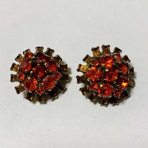 WEISS Vintage Orange & Yellow Bijoux Earrings