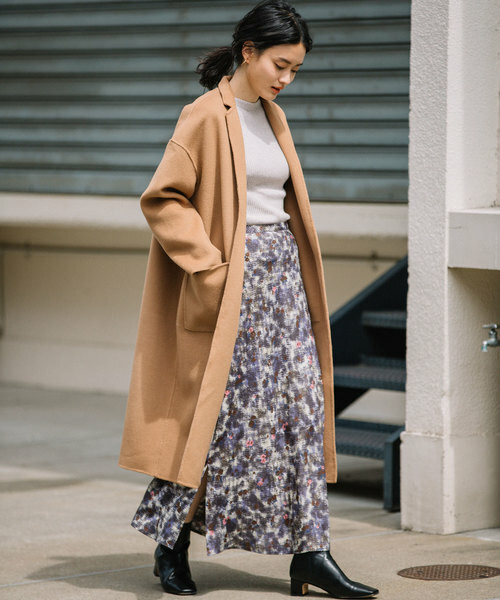 【Audrey and John Wad】FLOWER PRINT FLARE LONG SKIRT