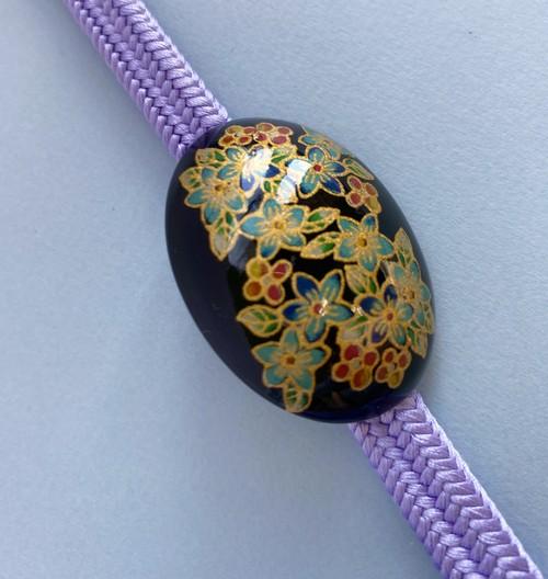 〈小花模様のブローチ〉アンティーク 九谷焼 帯留め金具付き 送料無料 和小物 和装