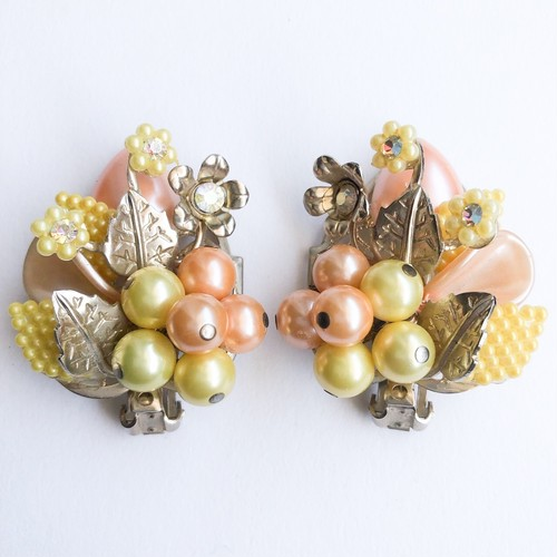 orange & yellow flower earring[e-1141]