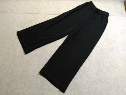 イヴサンローラン YSL ストレッチ ワイドパンツ 9号 黒 u1099c