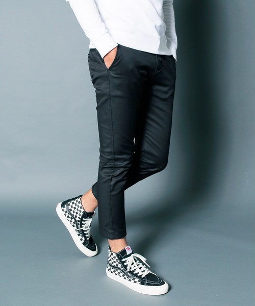 CTN STRETCH SERGE CROPPED TAPERED PANTS