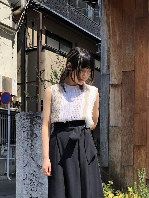 【20SS】EBONY エボニー / Mix Lace Top (BEIGE)