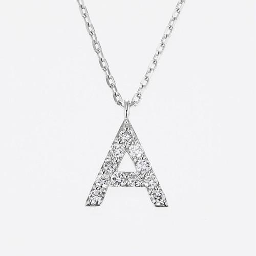 Initial K18WG Diamond【A】Pendant Necklace (ダイヤモンド イニシャル【A】ペンダントネックレス)