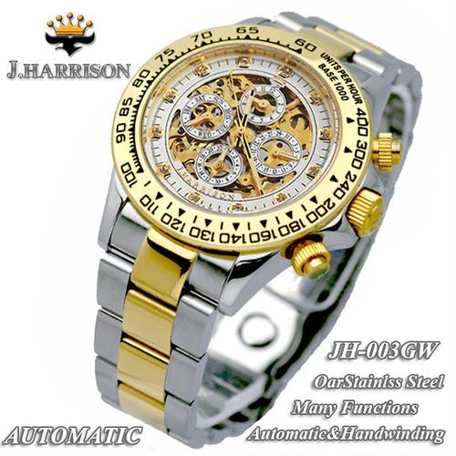 【J HARRISON】JH-003GW 手巻き付き自動巻き腕時計