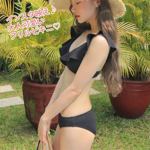 黒 Mサイズ 人気のフリル! Vネック フリル ビキニ ビーチ リゾートファッション rkab280