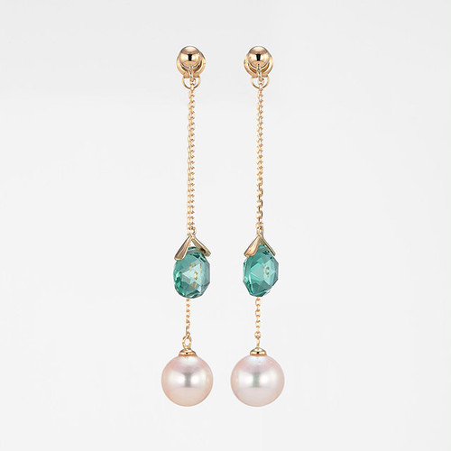 Dreaming K18YG Pearl Green Quartz Pierce (パール グリーンクォーツ ピアス)