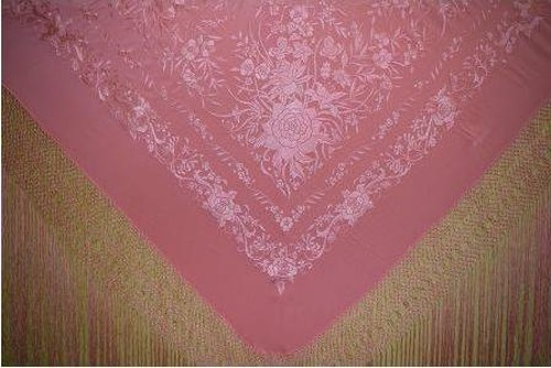【1点限り】マントンシルク 140㎝ 手刺繍 ピンクxピンク