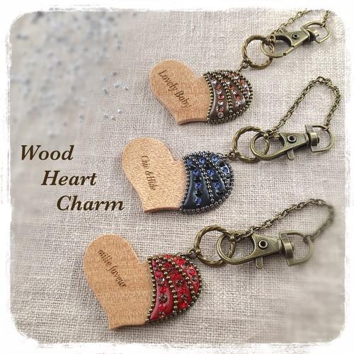 刻印入り Wood heart charm