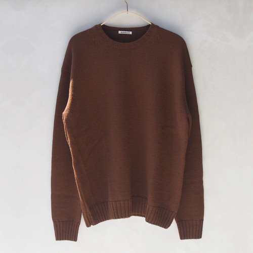 AURALEE UNEVEN WOOL CORD KNIT P/O BROWN