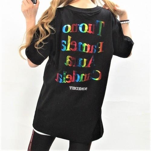 レインボー RAINBOW バックロゴ BIGTシャツ ユニセックス ブラック