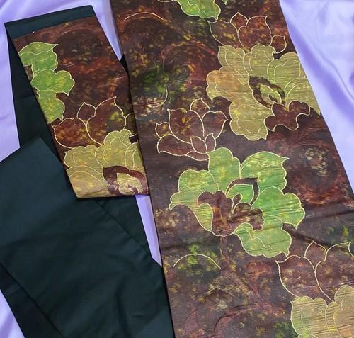 〈引拍の花模様の名古屋帯〉織り出しの帯 普段着の帯 焦茶色 送料無料 和装
