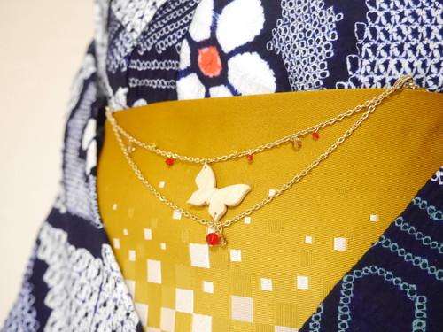 蝶の帯飾り(羽織紐)【紅×玉蜀黍色×菜の花色】2WAY