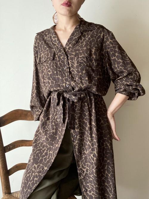 Giraffe Pattern Silk Shirt Dress
