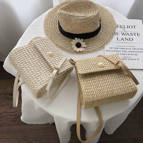 【送料無料】 春夏のお出掛けに♡ 上品 ガーリー パールボタン スクエア型 ショルダー ミニバッグ かごバッグ