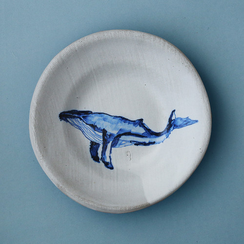 POTTER'S HUSBAND soup plate painted whale _Black