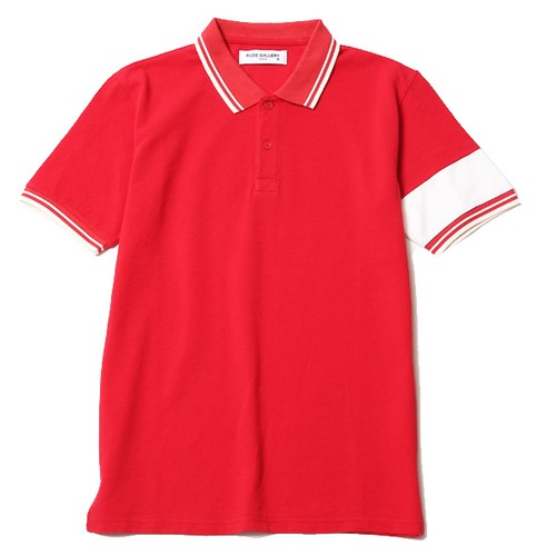 POLO SHIRT - ARM LINE (RED) /  RUDE GALLERY