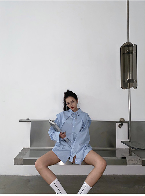 ★UNISEX ビッグカラールーズフィットシャツ(Grey.,White,Blue) 12255