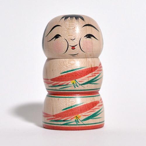 ミニこけし(ふくよかさん) 約2寸 約6.2cm 平賀輝幸 工人(作並系)#0164