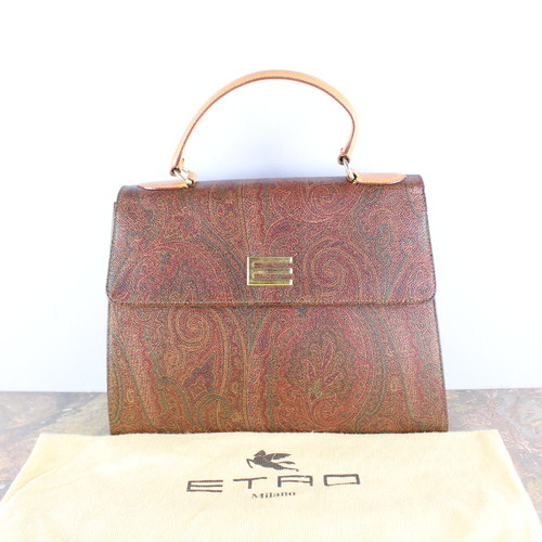 .ETRO PAISLEY PATTERNED LOGO HAND BAG MADE IN ITALY/エトロペイズリー柄ロゴハンドバッグ2000000052755