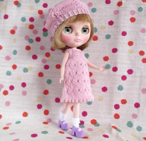 ブライスニットドレス+帽子セット:パステルピンク