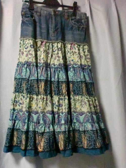 (中古)デニムとペイズリーの異素材スカート ☆かわいい☆ W67cmくらい